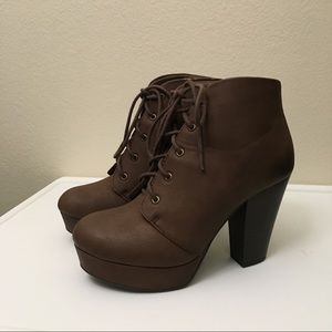 Soda Brown Faux Leather Lace Up Platform Booties